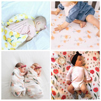 Wholesale Swaddle Bamboo - Muslin Baby Blankets Ins Bamboo Swaddling Toddler Cotton Wraps Lemon BathTowel Flamingo Summer Swaddle Quilt Sleeping Bags Sleepsacks B3120