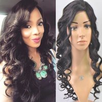 Wholesale Long Deep Wavy Hairstyles - Wavy human hair wigs 150 density brazilian glueless full lace wig lace front human hair wigs bleached knots