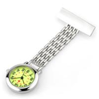 reloj colgante de enfermería al por mayor-Enfermera regalos reloj enfermera relojes broche de plata inoxidable clásico colgando bolsillo fob enfermera reloj movimiento japonés de alta calidad