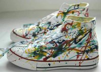 Wholesale Eur 43 - Ship with box! drop ship new 2016 high and low model ink graffiti canvas shoes unisex shoes for lovers of all size 35-43 eur