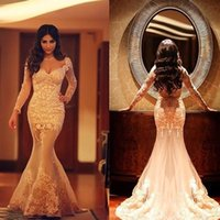 Wholesale Sexy Arabic Customs - Said mhamad Sexy Long Sleeves Formal mermaid Evening Prom Dresses illusion Lace Appliques Occasion Party Gowns Arabic Custom Made 2017