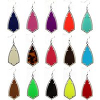 Wholesale Earring Acrylic Dangle - Geometric Kendra Kite Earrings Scott Stone Chandelier Earring Various 16 Colors Silver Plated Hot Popular for Lady Free Shipping