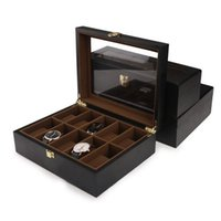 Wholesale Travelling Jewelry Display Cases - Luxury Wooden Jewelry Case With Glass Window Display Watch Bracelet Storage Box Home Travel Organization Free Shipping ZA4336