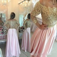 Wholesale Taffeta Robe - Arabic Illusion Lace Long Sleeves Evening Dresses 2016 Robe Gold Lace Beaded A Line Party Dresses Vestidos Prom Dresses