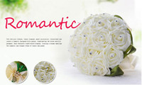 The Lawn Wedding bridal Bulk Flowers Fleurs en soie Peals Crystal Rhinestone Rose Wedding Supplies Bride Holding Broche Bouquet 2016