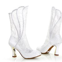 Wholesale Formal Boots - 2016 Fashion White lace Wedding Boots Sexy Woman Spring Autumn High Heel Formal Boots Bridal Dress Shoes Party Prom High Heels