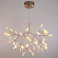 Wholesale Acrylic Ceiling Lamp Chandelier - Acrylic Lamp Branch Modern Firefly LED Chandelier Rose Golden Metal Branches Atmosphere LED Ceiling Fixtures For Decoration