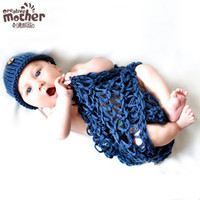 Wholesale Knit Hat Photograph - Baby's photography clothing photographed baby girls boys knitting hats newborn 0-3months photographic crocheted hat+clothing navy blue