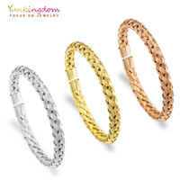 Wholesale bangle bracelet for ladies silver for sale - Group buy Yunkingdom Stainless Steel Bracelets Bangles For Women Woven Design Bangles Three Colors Gold Ladies Bangles
