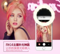 Wholesale Portable Rechargeable Spotlight - 1pcs Rechargeable Portable LED Selfie Ring Fill in Light Spotlight Selfie Flash Enhancing Photography for iPhone Android Phone