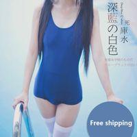 Wholesale Cute Sexy One Piece - Japanese school student girl kawaii Dark blue swimwear sexy Cute solid color Sukumizu One-piece swimsuit swimear Su ku water