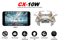 Wholesale Bnf Helicopter - CX-10W RC Quadcopter DHL freeship Cheerson CX10W Wifi FPV 0.3MP Camera 3D Flip 4CH CX10 Version Mini Drone BNF Helicopter Toy Gift