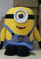 Gros-Popular Film Mignon Cartoon Despicable Me Minion Costume Adulte Mascotte Avec sourire Pour Noël Custom Made