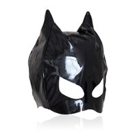 Wholesale Masquerade Masks Sex - Hot sexy Female Sex Bondage Fetish Leather Mistress Cat Hood Adult Half Face Mask Masquerade Costume
