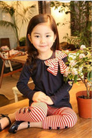 Wholesale Girl Set Ribbon Blue - Girl's long sleeve stripe Butterfly knot T-shirt + Girl stripe Butterfly knot Leggings 5pcs spring and autumn new pink blue two-piece Set