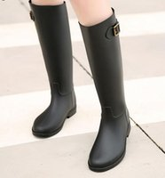 Wholesale Women Black Knee Length Boot - Hot Selling 2016 Spring Autumn Women New Fashion Rain High Knee Length Black Rubber Boots Shoes Waterproof Wellies 6 Sizes
