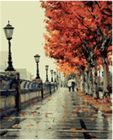 Wholesale Canvas Paint Autumn - Fashion 40X50cm Frameless DIY Digital Oil Canvas Painting Autumn Love by Numbers Kits with Pigment Home Decor Wall Decor
