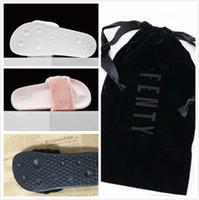 zapatillas blancas y esponjosas al por mayor-.2016 nuevas zapatillas Fenty fluffy Leadcat mujeres zapatos casuales sandalias rihanna ocho color rosa negro y blanco gris rojo zapatillas ..