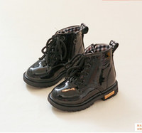 Wholesale Blue Zip Ties - New Autumn And Winter Children Patent Leather Martin Boots Zipper Toddler Shoes 21-36 Size For Baby Kids