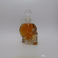Wholesale Skull Hip Flask - 350ml Crystal Skeleton Head Clear Glass Bottles Crystal Skull Shot Glass Whiskey Vodka wine flask bottle Novelty Hip Cup