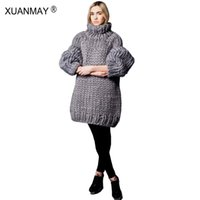 Wholesale Sweater Made Hand - XUANMAY Women's Sweater custom made Fashion Pure Hand-made 5XL Large size Sweater Winter Thick Warm High-necked Black Sweater