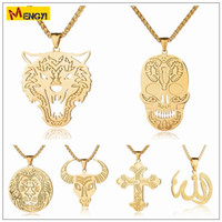 Wholesale Wolf Cross Pendant - 2018 Mens Hip Hop Jewelry Skull Wolf Bull Necklaces Gold Silver Chain Popular Fashion Lion Islam The Cross Pendant Jewelry