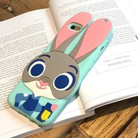 Wholesale 3d Rhinestone Cell Phone Cases - Cell Phone Cases Soft Silicon 3D Cover Protective Case Judy Hopps Nick Wilde Chief iPhone 5 5s 6 6S Plus Factory Direct ZD098