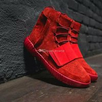 Wholesale Black Wide Calf Leather Boots - Quality goods Lights Grey Gum with Glow Thes Dark bottoms Kanye West Shoes new authentic Sneakers 750 Boost Men Sports Casual boots Newest