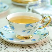 tazas de café de cerámica de estilo europeo al por mayor-China taza de café de cerámica taza de té azul patrón de flor de buena calidad estilo europeo