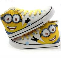 Lace-Up paintings family - Men canvas shoes Hand Painting High top Outdoor Minions Lacing big eyes Family Shoes women canvas shoes fashion Flats size