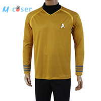 Wholesale Star Trek Uniforms - Wholesale-Star Trek Into Darkness Captain Kirk Shirt Uniform Cosplay Costume Yellow Version Size XS-XXXXL