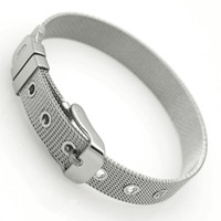 Wholesale Mesh Cuff - Men's Stainless Steel Bracelet Cuff Belt Mesh Buckle Bangle Wristband 6 8 10 12 14 16 18mm Width 21cm Length