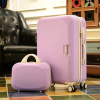 "Wholesale Trolley Luggage Bags For Girls - New 14"" + 24"" 8-color ABS trolley bags rolling luggage sets kids travel bag case suitcase for girls valise enfant suitcases hard shell"