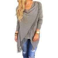 Wholesale Long Sleeve Winter Work Dresses - Autumn Dress Casual Women's 2017 New Long Sleeve Slim Tassel Slash Winter Cotton Clothing Fashion Black Loose Dress