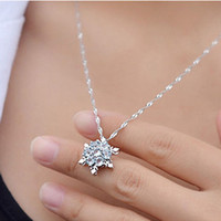 Wholesale Wholesale Snowflake Charms Free Shipping - Charm Vintage lady Blue Crystal Snowflake Zircon Flower Silver Necklaces & Pendants Jewelry for Women Free Shipping
