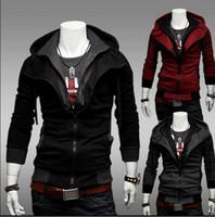 suikastçilerin inanç hoodies ücretsiz gönderim toptan satış-Ücretsiz kargo-NEW Assassin Creed Desmond Stil Kadife Hoodie