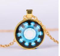 Wholesale Iron Man Arc - Iron Man Arc Reactor Pendant glass Necklace Art picture Gothic glass cabochon silver choker Necklace for women men Jewelry