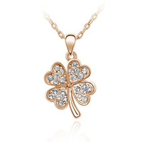 Wholesale Korean Lucky Necklace - Fashion jewelry for woman Statement necklace! Korean stars recommend jewelry crystal clover pendant necklace - lucky clover - B151