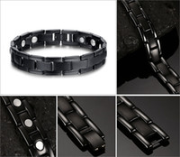 Wholesale Magnetic Therapy Bangles - Newest Health Energy Magnet Men Classic Bio Magnetic Titanium Bracelet Sport Bracelets Bangles For Men Hand Chain Therapy Bracelet B833S