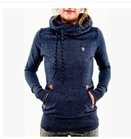 Wholesale Thick Cotton Womens Hoodie - Women Fashion hooded long-sleeved pocket embroidery hooded fleece jacket black hoodie womens fashion hoodies