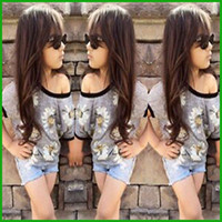 Wholesale Cheap Hot Girl Clothing - fashion style baby girls shoulder round neck tops t-shirts denim short pants children clothing set flower print hot selling cheap prices