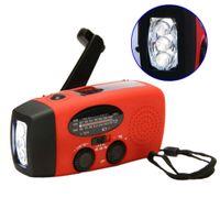 Wholesale Emergency Radio Charger Flashlight - Protable Radio Compact 3 LED flashlight Emergency Hand Crank Generator Solar AM FM WB Radio Flashlight Charger
