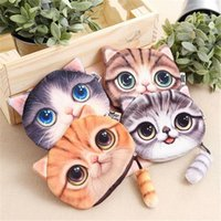 Wholesale 3d Business Cards Wholesale - 4 Design 3D Printer Cat face Cat with tail Coin Purse Bag Wallet Girls Clutch Purses Change Purse cartoon handbag case D639