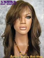 Wholesale Hair Color Beyonce - High Quality Indian Original Hman Hair Dark Brown Full Lace Glueless Wigs with Side Bangs #6 130% density 16-24 inch Beyonce Lace Front Wigs