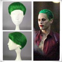 Wholesale Heat Movies - Batman Series Movie Suiscide Squad Joker Short Wig Jack Joseph Wig Suicide Squad Cosplay Costume Short Green Wig Heat Resistant Hair