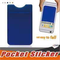 iphone zellhalter wallet großhandel-Lycra Handy Brieftasche Kreditkarteninhaber Tasche Klebstoff Aufkleber Rückendeckel Kreditkarteninhaber Pouch Pocket Kompatibel für iPhone Samsung