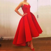 Wholesale Maxi Chiffon Strapless Dress - Katy Perry 2016 Sexy Red Velvet Celebrity Dresses Strapless Short Prom Party Dress Tea Length Plus Size Evening Ball Gowns Puffy BO5918