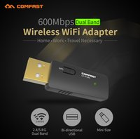 Wholesale Cf Pc Card Adapter - Wholesale- COMFAST Wireless 600mbps USB WiFi antenna Dual Band 2.4+5GHz Network Card 802.11ac Wi fi Adapter Mini PC WiFi adapter CF-913AC