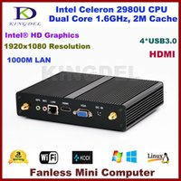 Wholesale Mini Itx Fanless Pc - Wholesale-Fanless mini itx pc Intel Pentium 3556U Celeron 2980U USB 3.0, WiFi,HDMI VGA,Lan Windows 10,Small home computer