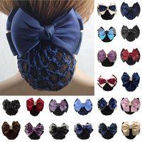 Wholesale Rhinestone Hair Bun - Lady Satin Bow Rhinestone Barrette Hair Clip Cover Net Bun Snood Bowknot Sweet #R48